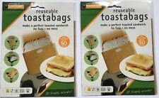 6 PACK - Reusable Toaster Toastie Sandwich Toast Bags Pockets Toasty Toastabags