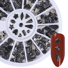Metal Black Rivet Nail Studs Triangle Heart Star Mixed Nail Art 3D Decoration