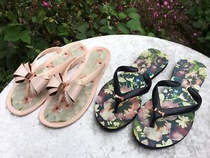 Genuine Ted Baker x2 Pairs Flip Flop Sandals Women's Size UK 5
