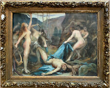 C.1890-1900 FRENCH MYTHOLOGICAL OIL PAINTING - SIRENS & FIGURES WORKING SKETCH