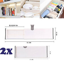 2Pcs Drawer Dividers White Spring Loaded Expandable Kitchen Bedroom Organizer AY
