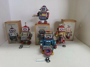 "Winding Robot x 4pcs set  - Metal  (3Ht"")  3 with original box 1 without box"