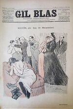 JOURNAL GIL BLAS N° 26 de 1892 MAUPASSANT STEINLEN PARTITION MUSIQUE XANROF