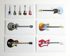 Famous Electric Guitars, Pack of 6 Greeting Cards, DL size