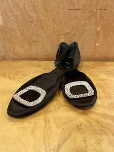 Roger Vivier Black Paris Satin Chips Prism Flats Shoes Sz 37 Rhinestones