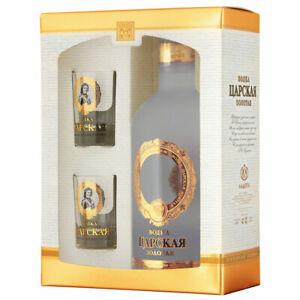 Vodka Ladoga  Zarskaja Gold 0,7L + 2 Gläser Geschenkset russischer Wodka