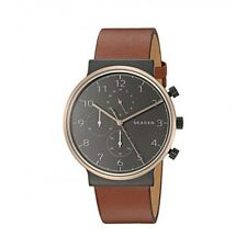 NEW SKAGEN SKW6400 ANCHER BROWN LEATHER BLACK DIAL CHRONOGRAPH MEN'S WATCH