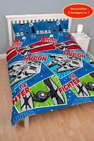 DOUBLE BED DUVET COVER SET STAR WARS CRAFTS FALCON SPACE SHIPS REVERSIBLE RED