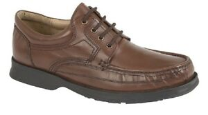 Roamers M295 Soft Leather Canoe Front Apron Tie Lace Up Shoes Brown Softie Leat