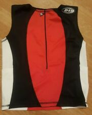De Soto Red/White/Black Tri Tank Top Cycling Jersey Large