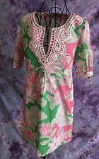 Lily Pulitzer Short Sleeve Empire Waist Tunic Dress Pink Green Floral Size 6 EUC