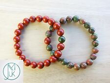 Couple Unakite/Red Jasper Natural Gemstone Bracelet 7-8'' Elasticated Healing