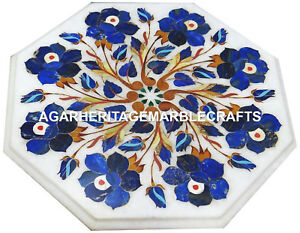 Marble Coffee Table Top Rare Lapis Stone Inlay Marquetry Living Room Decor H1989