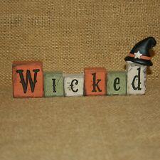 Wicked Block Word Witch Hat Halloween Figurine Blossom Bucket Suzi Skoglund