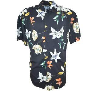 Camicia uomo a manica corta in cotone con bottoni frontali fantasia floreale peo