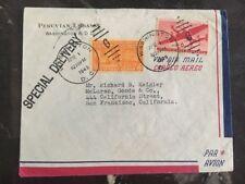 1949 Peruvian EmbassY Washington Dc USA Diplomatic Cover To San Francisco Ca
