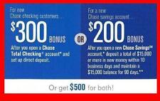 Chase $500 Bonus Offer $300 Checking $200 Savings Direct Deposit Req'd Fast Ship