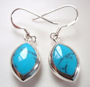 Blue Turquoise Almond Shaped Earrings 925 Sterling Silver Dangle