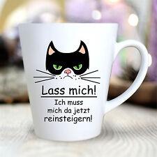 Kaffeetasse Katze konisch Tee Cat Lass mich reinsteigern grumpy Spruch TK102