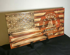 Us Rustic Wood Burned Flag Gadsden Dont Tread On Me American Flag Painted Carved