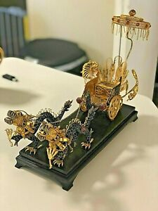 CHINA CHINESE ENAMEL GILT FILIGREE DRAGON CHARIOT WITH CANOPY
