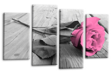 Floral Rose Wall Art Pink Grey White Flower Love Home Canvas Split Picture