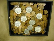 Vintage Antique Hoard 50 Mixed Wheat Cents & 1 Lustrous1964 Silver Kennedy Half