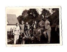 Original WORLD WAR TWO PHOTOGRAPH GERMAN SOLDIERS WOMAN BABY MAN TRUCK HOUSE