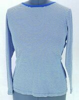Faded Glory Womens XXL T Shirt Blue White Striped Long Sleeve Scoop Neck Stretch