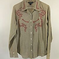NWOT Cattlelac Ranch Women's large Button L/S Embroidered Western Shirt