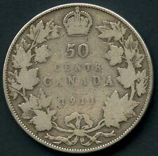 1911 Canada Silver 50 Cent Coin (11.66 Grams .925)