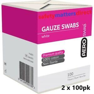 2 x 100pk Gauze Swabs 7.5 cm x 7.5cm 100% Cotton White Non-Sterile AERO