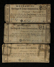 Three 1864 Mechanics' Savings and Loan Association Georgia Notes - $2 and $1 (2)