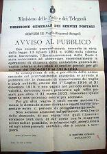 1922 MANIFESTO INVIATO A FIVIZZANO SU VAGLIA POSTALI, RISPARMI DELLE POSTE, ecc.