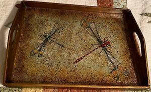 Robert Weiss Wood Serving Tray Reverse Hand Painted Glass Peru Dragonflies! Wow!