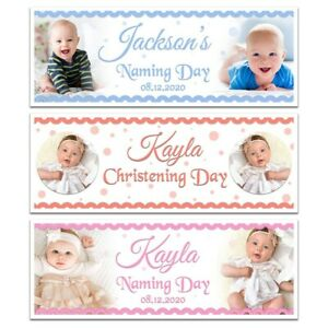 PERSONALISED CHRISTENING NAMING DAY BAPTISM PARTY PHOTO BANNER WALL DECORATIONS