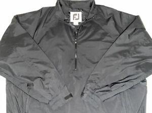 FootJoy Dryjoy Tour Collection Golf 1/2 Zip Waterproof Rain Jacket XL Black/Red