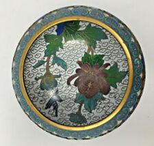 Vintage Chinese Cloisonne Bowl Jingfa Blue Color Chrysanthemum Peony & Bird
