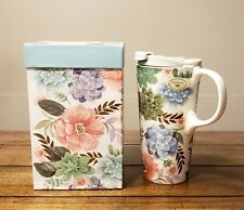 Cypress Refresh The Perfect Cup Floral Ceramic Travel  Mug, 17 oz New Open Box