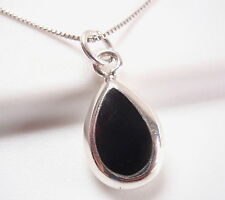 Reversible Black Onyx and Mother of Pearl 925 Sterling Silver Teardrop Pendant