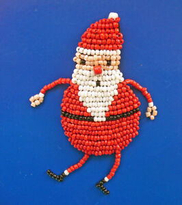 Hallmark PIN Christmas Vintage BEADED SANTA Cindy Pawlyshn Holiday Brooch