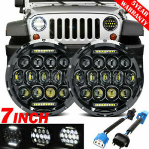 Pair 12V 7'' LED Headlight High/Low beam + DRL For AM General Hummern1992-2001