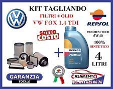 KIT TAGLIANDO VW FOX 1.4 TDI 51KW DAL 04/2005 IN POI + 4L OLIO REPSOL 5W40