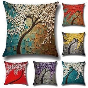 45*45cm Linen Cushion Cover 3D Oil Painting Tree Pillowcase Sofa Home Decoration