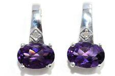 2 Ct Amethyst 7x5mm Oval Diamond Stud Earrings White Gold Silver