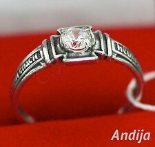 RUSSIAN ORTHODOX PRAYER RING. 925 SILVER. CHRISTIAN JEWELRY. ONE STONE BAND
