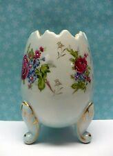 Vintage Napcoware Ceramic Footed Pale Blue Egg Vase W/Painted Flowers Japan