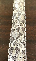 Vintage Ivory Cream Floral Lace Trim Insert Edging 35mm Pm