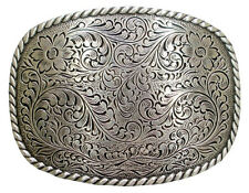 WESTERN BELT BUCKLE HA 0359 ROPE EDGE RODEO PLAQUE TROPHY SILVER ENGRAVED COWBOY