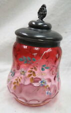 perfect Victorian era red thumbprint glass pickle caster insert & lid hand paint